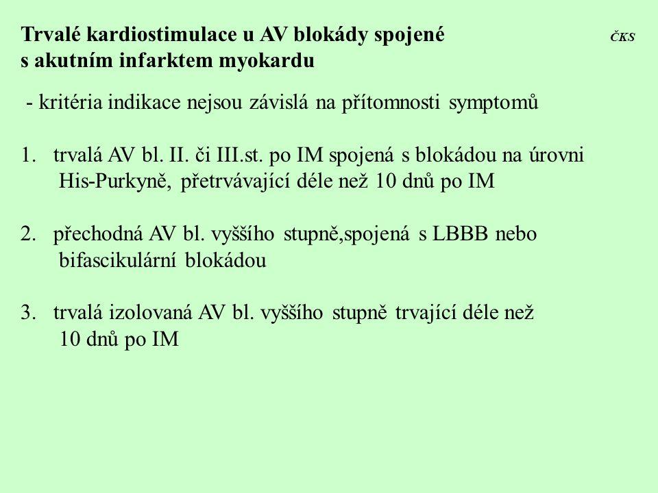 Trvalé kardiostimulace u AV blokády spojené ČKS s akutním infarktem myokardu - kritéria indikace nejsou závislá na přítomnosti symptomů 1.trvalá AV bl