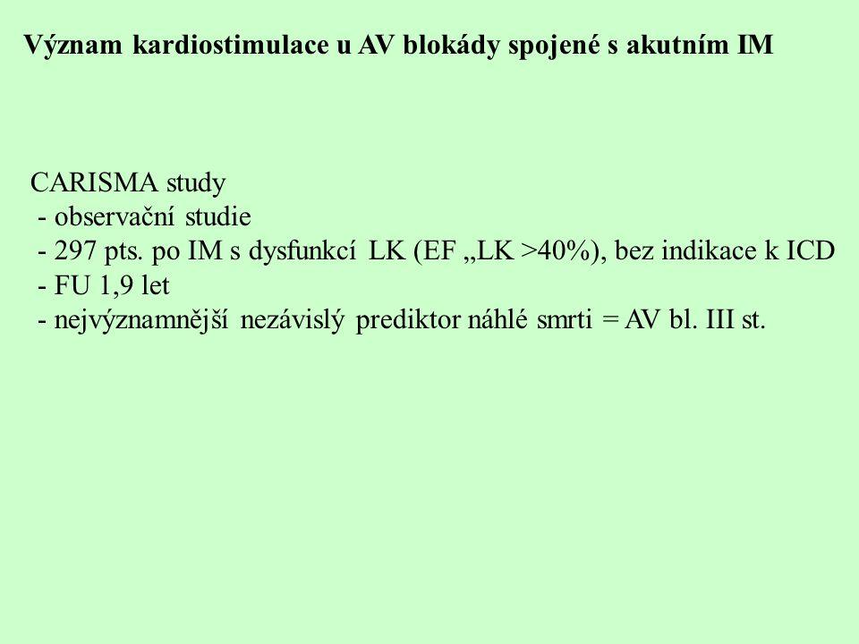 """Význam kardiostimulace u AV blokády spojené s akutním IM CARISMA study - observační studie - 297 pts. po IM s dysfunkcí LK (EF """"LK >40%), bez indikace"""