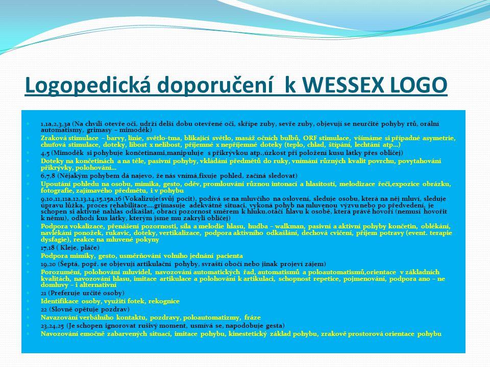 Logopedická doporučení k WESSEX LOGO  1,1a,2,3,3a (Na chvíli otevře oči, udrží delší dobu otevřené oči, skřípe zuby, sevře zuby, objevují se neurčité