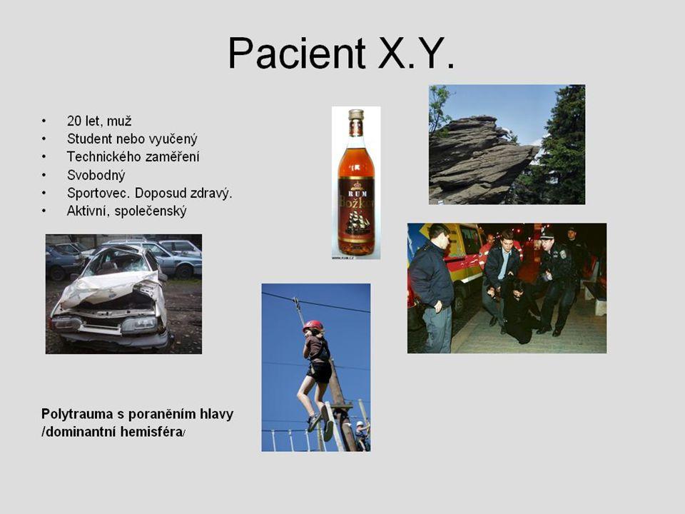 Pacient X.Y.  20 let, muž  Student nebo vyučený  Technického zaměření  Svobodný  Sportovec. Doposud zdravý.  Aktivní, společenský Polytrauma s p