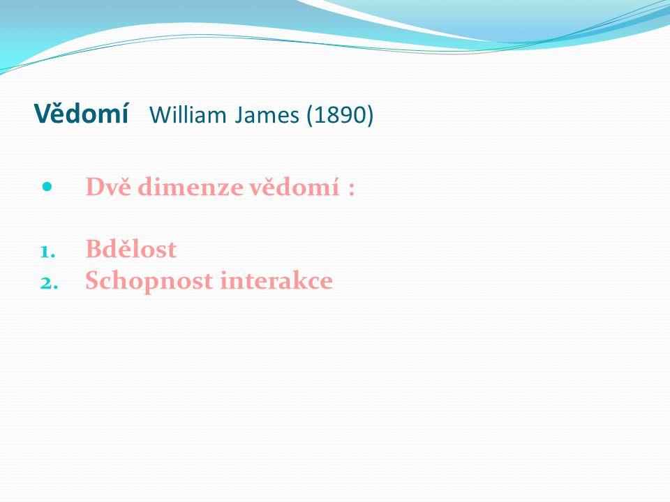 Vědomí William James (1890)  Dvě dimenze vědomí : 1. Bdělost 2. Schopnost interakce