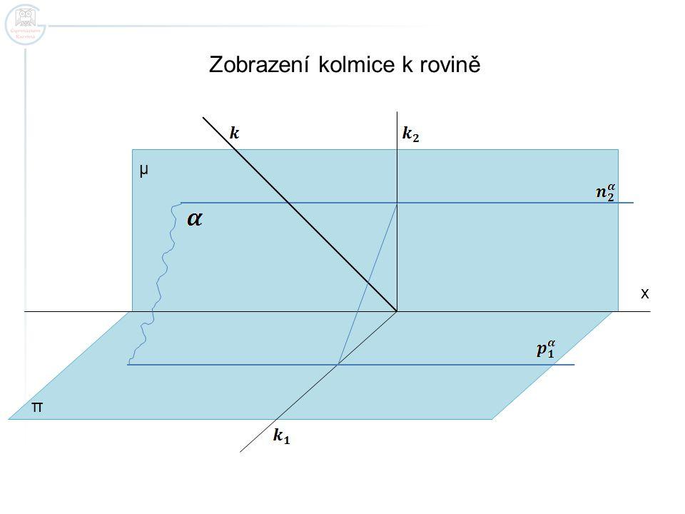 x Zobrazení kolmice k rovině π μ