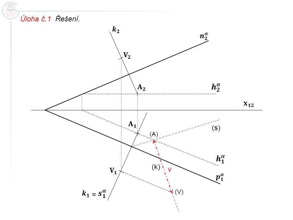 Úloha č.1 Řešení. (A) (V) = (s) (k) v