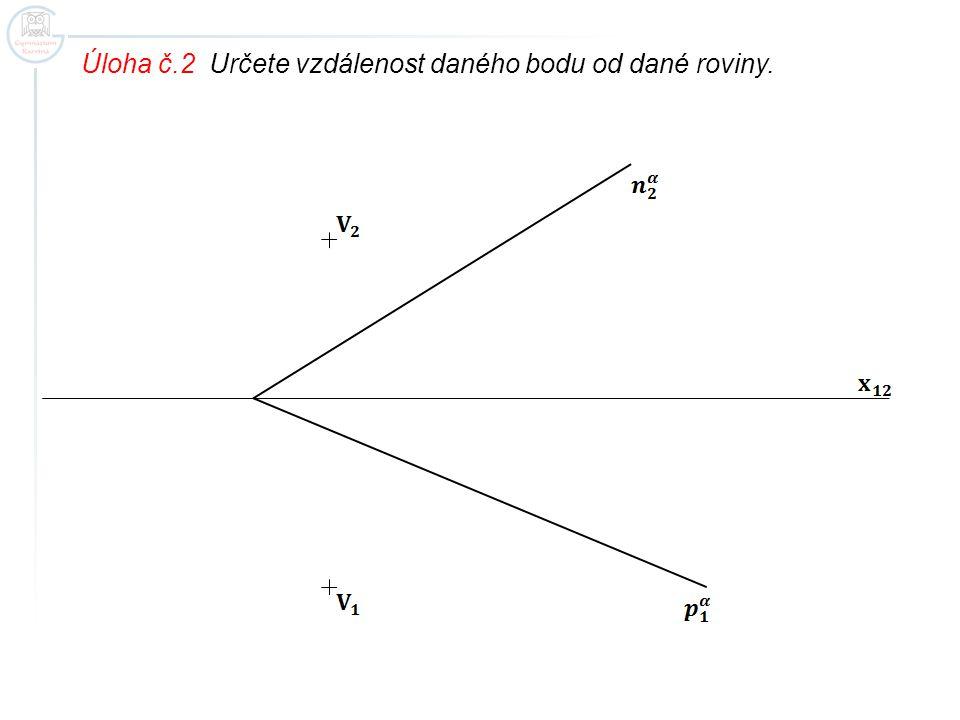 Úloha č.2 Určete vzdálenost daného bodu od dané roviny.