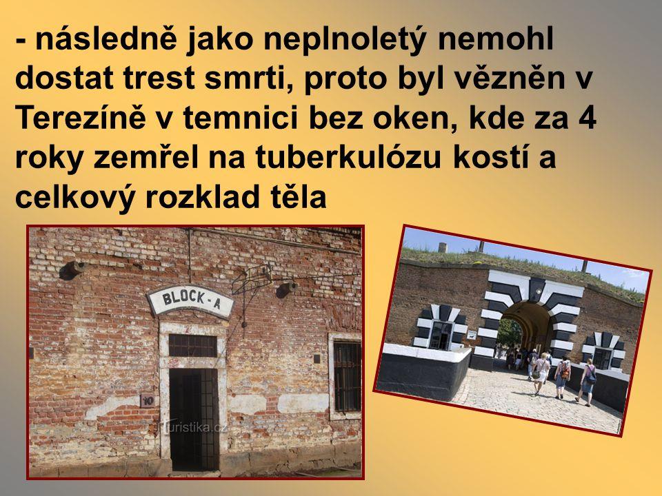 - následně jako neplnoletý nemohl dostat trest smrti, proto byl vězněn v Terezíně v temnici bez oken, kde za 4 roky zemřel na tuberkulózu kostí a celkový rozklad těla