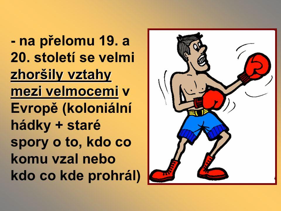 - za atentátem stáli bosenští radikálové a protože měli napojení na podobnou organizaci v Srbsku, bylo obviněno Srbsko - po poradě s Německem R-U zformovalo ultimátum pro Srbsko (podmínky, na které musí Srbsko přistoupit, aby nedošlo k válce) - podmínky byly nepřijatelné, přesto až na jeden bod Srbsko vyhovělo