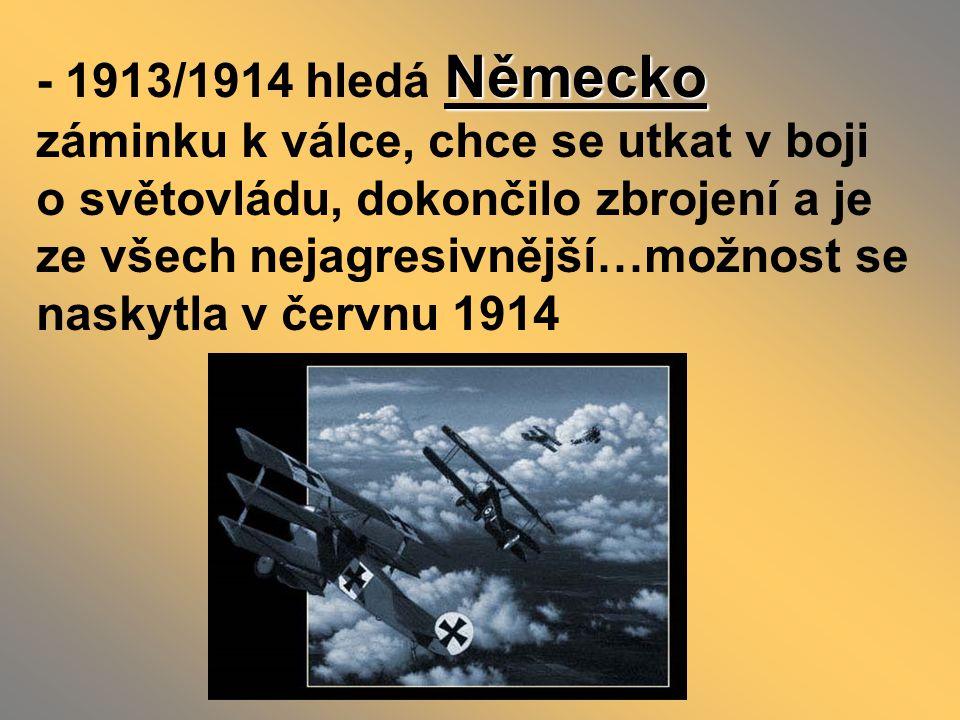 - už v roce 1908 došlo k násilnému připojení Bosny a Hercegoviny k R-U …to se nikomu nelíbilo, protože vzrostl vliv R-U na Balkáně František Ferdinand d´Este s manželkou Žofií - teď v roce 1914 přijel následník rak.