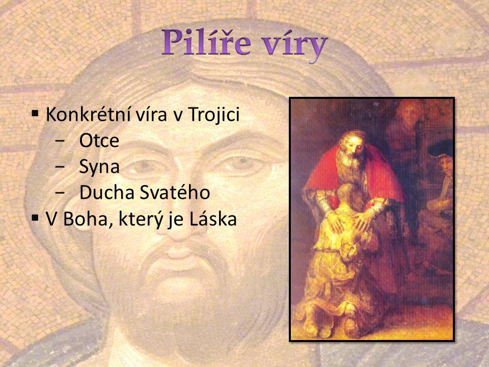  Konkrétní víra v Trojici −Otce −Syna −Ducha Svatého  V Boha, který je Láska