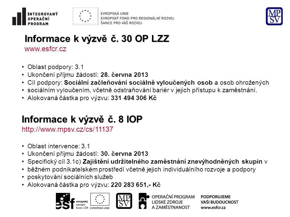 Informace k výzvě č. 30 OP LZZ www.esfcr.cz •Oblast podpory: 3.1 •Ukončení příjmu žádostí: 28. června 2013 •Cíl podpory: Sociální začleňování sociálně