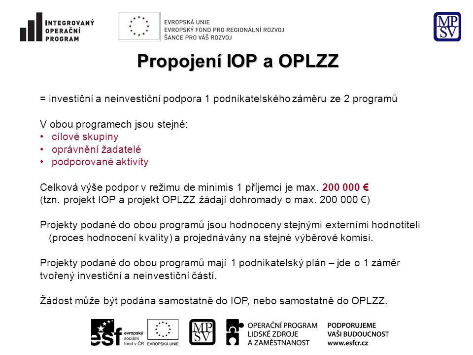 Propojení IOP a OPLZZ = investiční a neinvestiční podpora 1 podnikatelského záměru ze 2 programů V obou programech jsou stejné: • cílové skupiny • opr