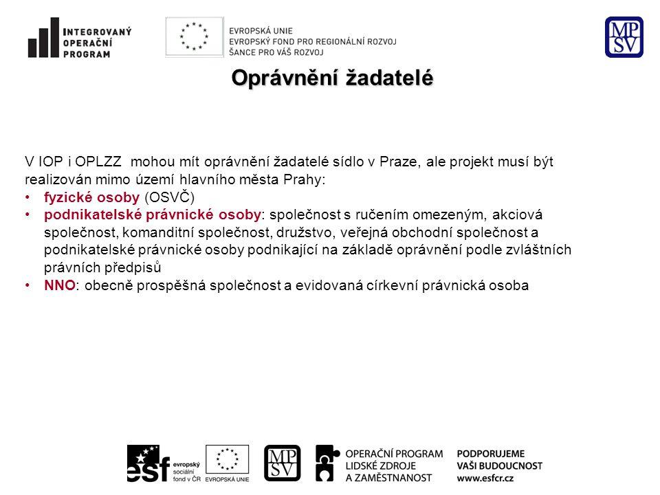 Oprávnění žadatelé V IOP i OPLZZ mohou mít oprávnění žadatelé sídlo v Praze, ale projekt musí být realizován mimo území hlavního města Prahy: •fyzické
