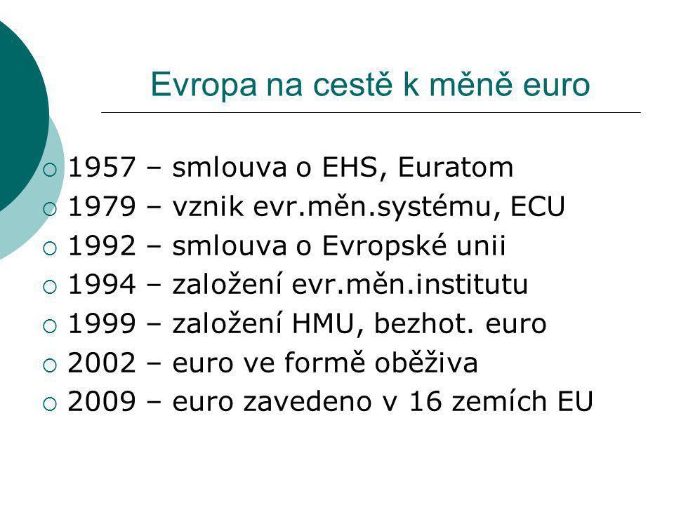 Evropa na cestě k měně euro  1957 – smlouva o EHS, Euratom  1979 – vznik evr.měn.systému, ECU  1992 – smlouva o Evropské unii  1994 – založení evr.měn.institutu  1999 – založení HMU, bezhot.