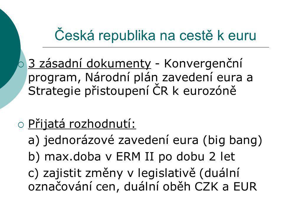 Česká republika na cestě k euru  3 zásadní dokumenty - Konvergenční program, Národní plán zavedení eura a Strategie přistoupení ČR k eurozóně  Přijatá rozhodnutí: a) jednorázové zavedení eura (big bang) b) max.doba v ERM II po dobu 2 let c) zajistit změny v legislativě (duální označování cen, duální oběh CZK a EUR