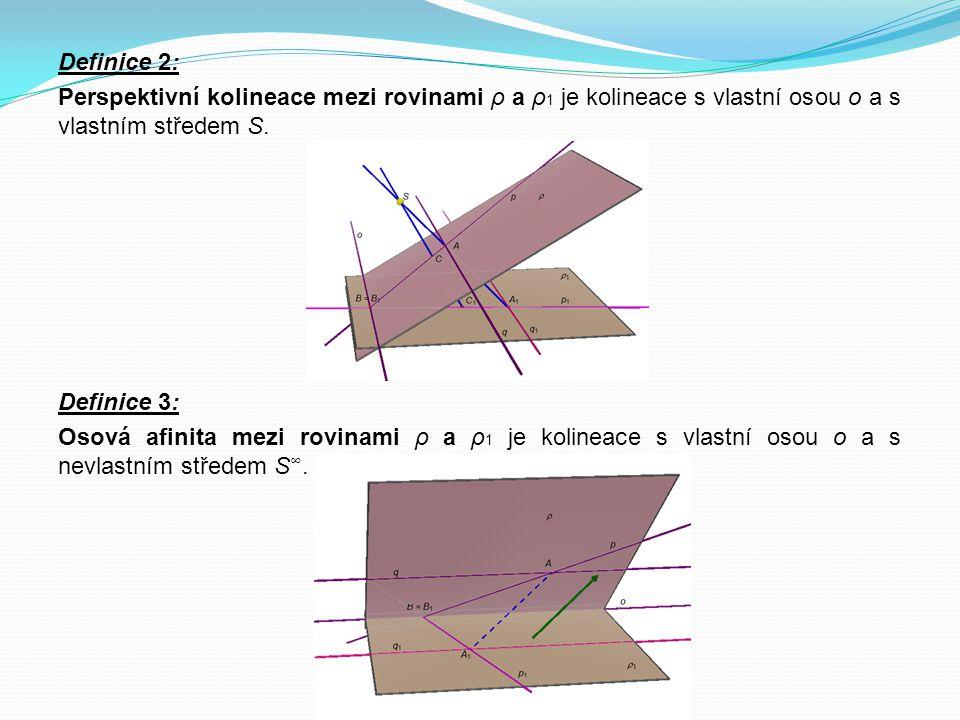 Definice 2: Perspektivní kolineace mezi rovinami ρ a ρ 1 je kolineace s vlastní osou o a s vlastním středem S. Definice 3: Osová afinita mezi rovinami