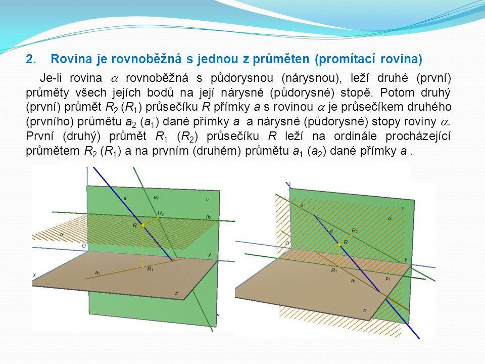 2. Rovina je rovnoběžná s jednou z průměten (promítací rovina) Je-li rovina  rovnoběžná s půdorysnou (nárysnou), leží druhé (první) průměty všech jej