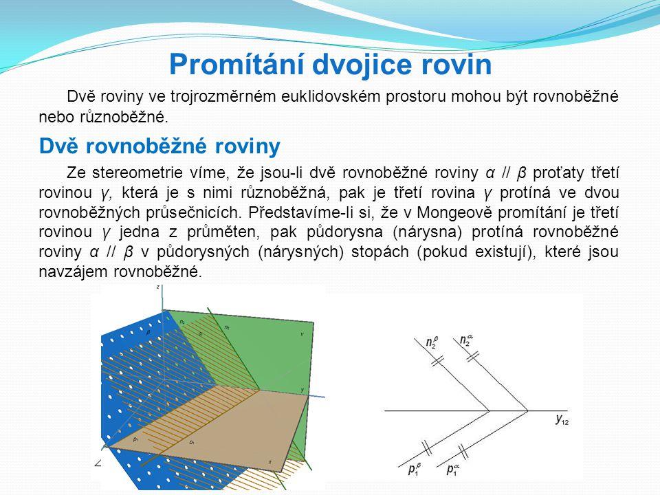 Promítání dvojice rovin Dvě roviny ve trojrozměrném euklidovském prostoru mohou být rovnoběžné nebo různoběžné. Dvě rovnoběžné roviny Ze stereometrie