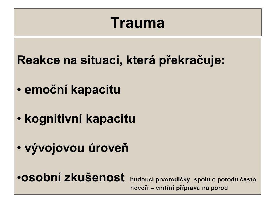 10 Trauma •.•. Reakce na situaci, která překračuje: • emoční kapacitu • kognitivní kapacitu • vývojovou úroveň •osobní zkušenost budoucí prvorodičky s