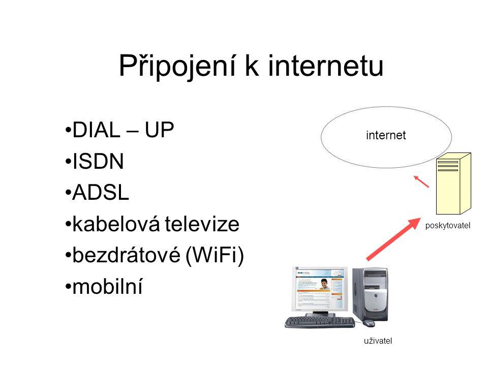 Dial-up Vytáčené připojení přes pevnou linku dostupnost cena, rychlost riziko dialerů Rychlost max 56 kb/s Platíme za každou minutu připojení Nelze současně telefonovat Riziko podvodného přesměrování – -programy zvané dialery změní námi vytáčené číslo za číslo s vyšším zpoplatněním Je potřeba MODEM – externí,interní