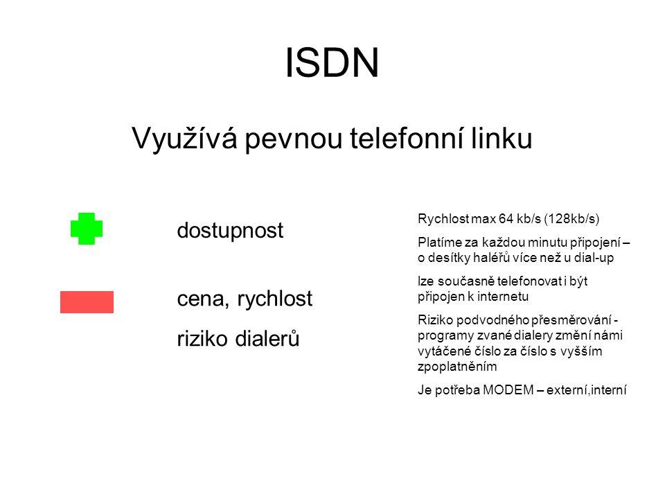 ADSL Využívá rozvody pevné telefonní linky rychlost spolehlivost dostupnost Datové limity, vyšší cena méně omezených variant Vysoký rozdíl mezi rychlostí downloadu a uploadu Platíme měsíční paušál Čas připojení není omezen Po přenesení datového limitu (10GB za měsíc) se výrazně sníží rychlost připojení Je potřeba MODEM – externí, připojuje se přes USB nebo síťovou kartu Je k dispozici i na venkově a malých městech Asymetrické připojení – rychlé stahování v Mb/s, pomalé odesílání dat 128kb/s