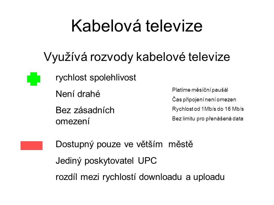 Princip připojení prostřednictvím kabelové televize Počítač uživatele Počítač poskytovatele připojení Modem kabelové televize Síť kabelové televize internet