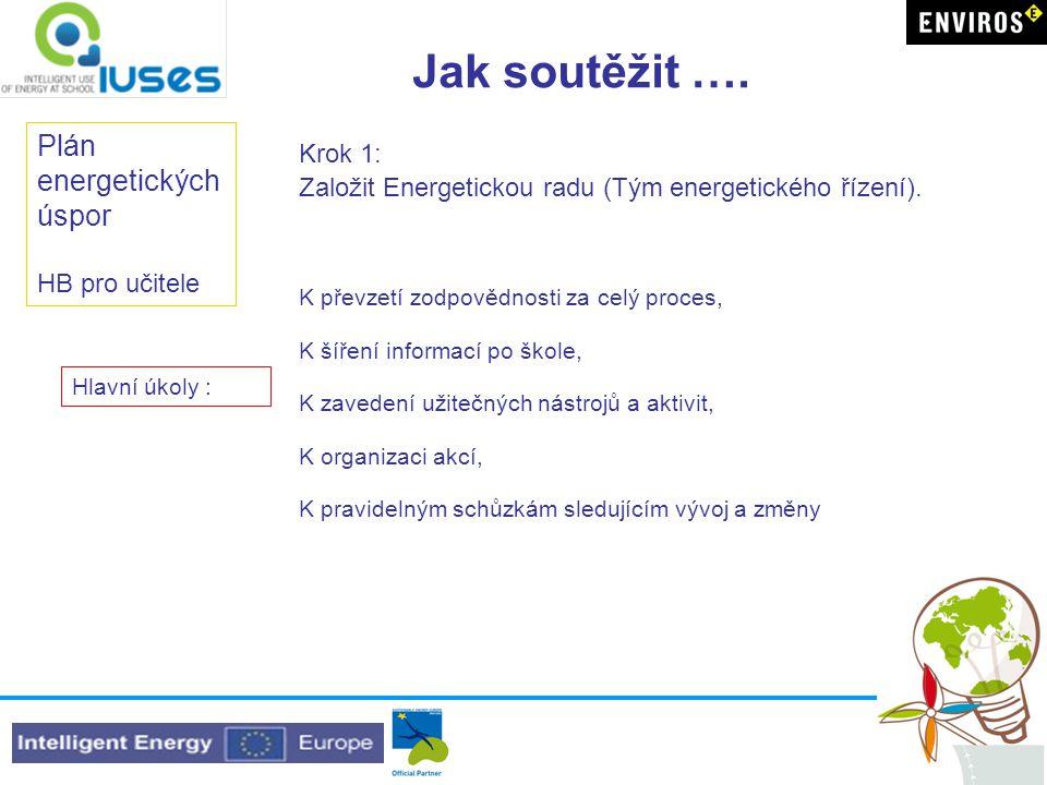 Jak soutěžit …. Plán energetických úspor HB pro učitele Krok 1: Založit Energetickou radu (Tým energetického řízení). K převzetí zodpovědnosti za celý