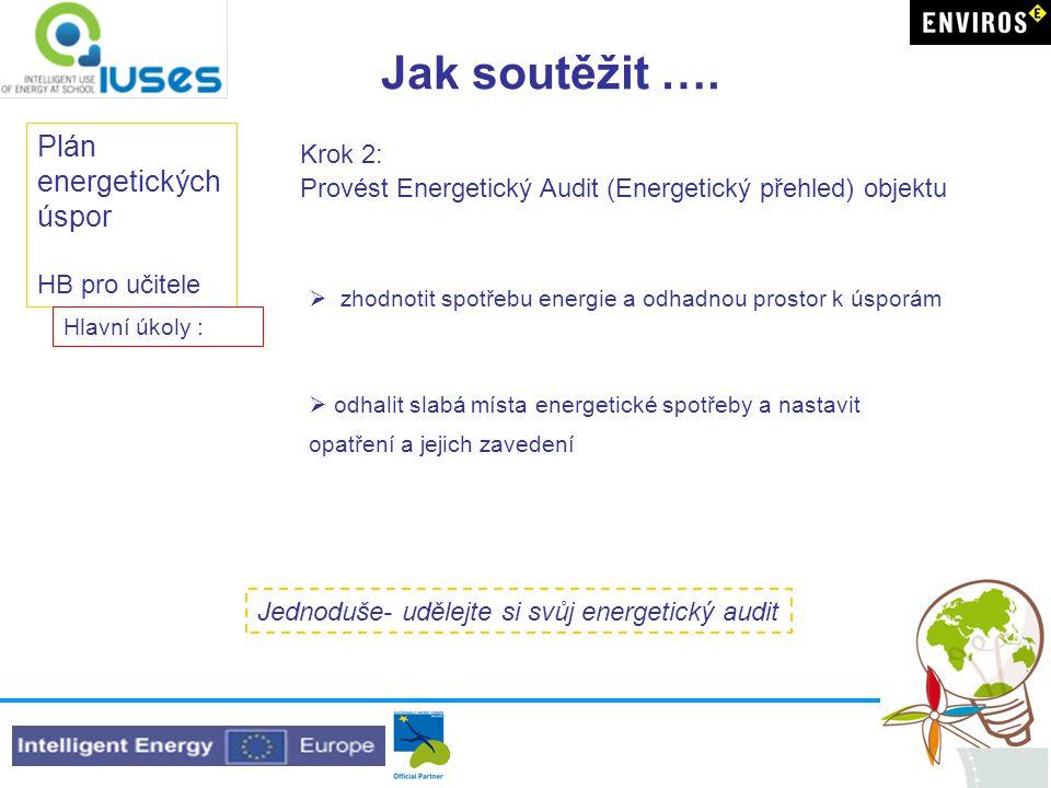 Jak soutěžit …. Plán energetických úspor HB pro učitele Krok 2: Provést Energetický Audit (Energetický přehled) objektu  zhodnotit spotřebu energie a