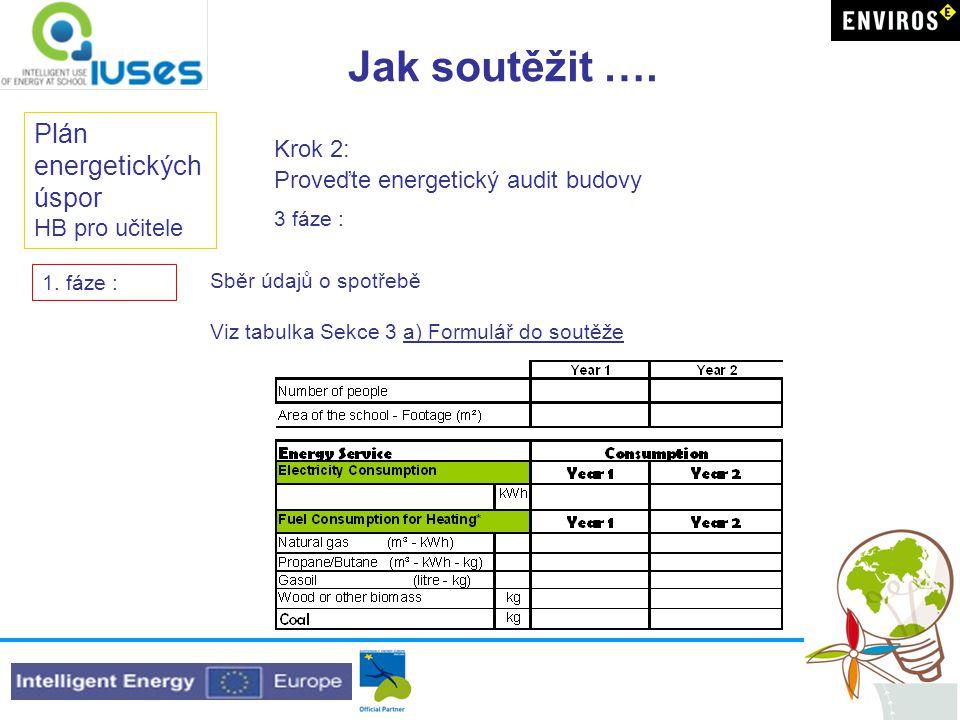 Jak soutěžit …. Plán energetických úspor HB pro učitele Krok 2: Proveďte energetický audit budovy Sběr údajů o spotřebě Viz tabulka Sekce 3 a) Formulá