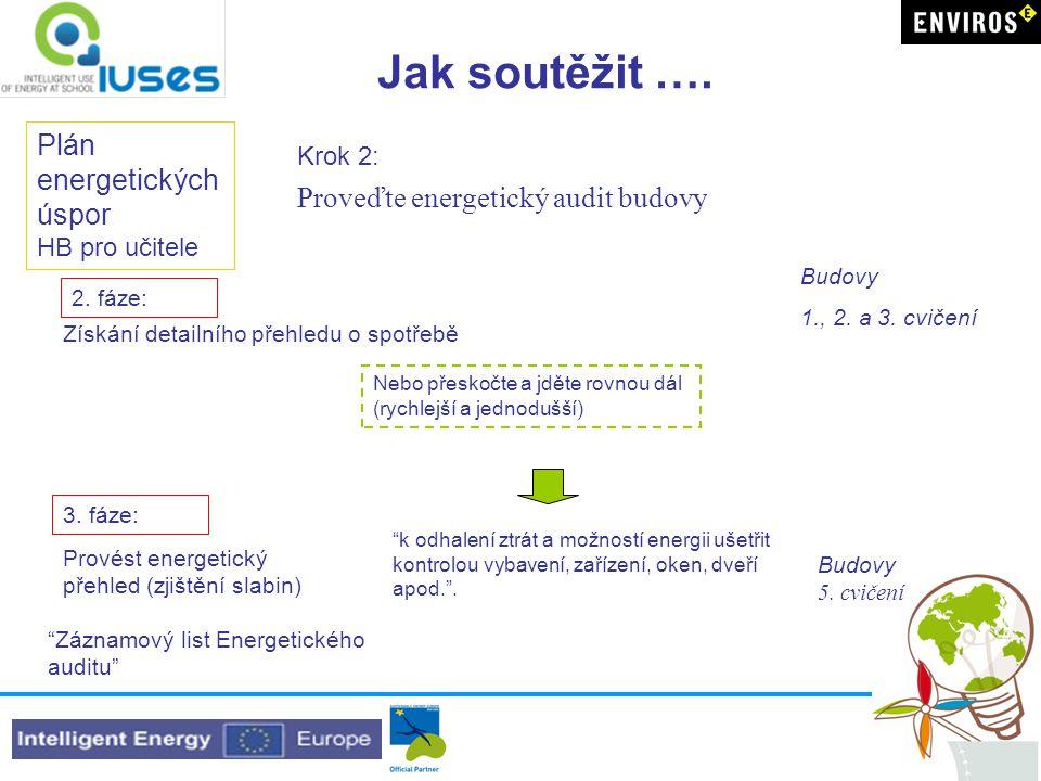 Jak soutěžit …. Plán energetických úspor HB pro učitele Krok 2: Proveďte energetický audit budovy Získání detailního přehledu o spotřebě 2. fáze: Nebo