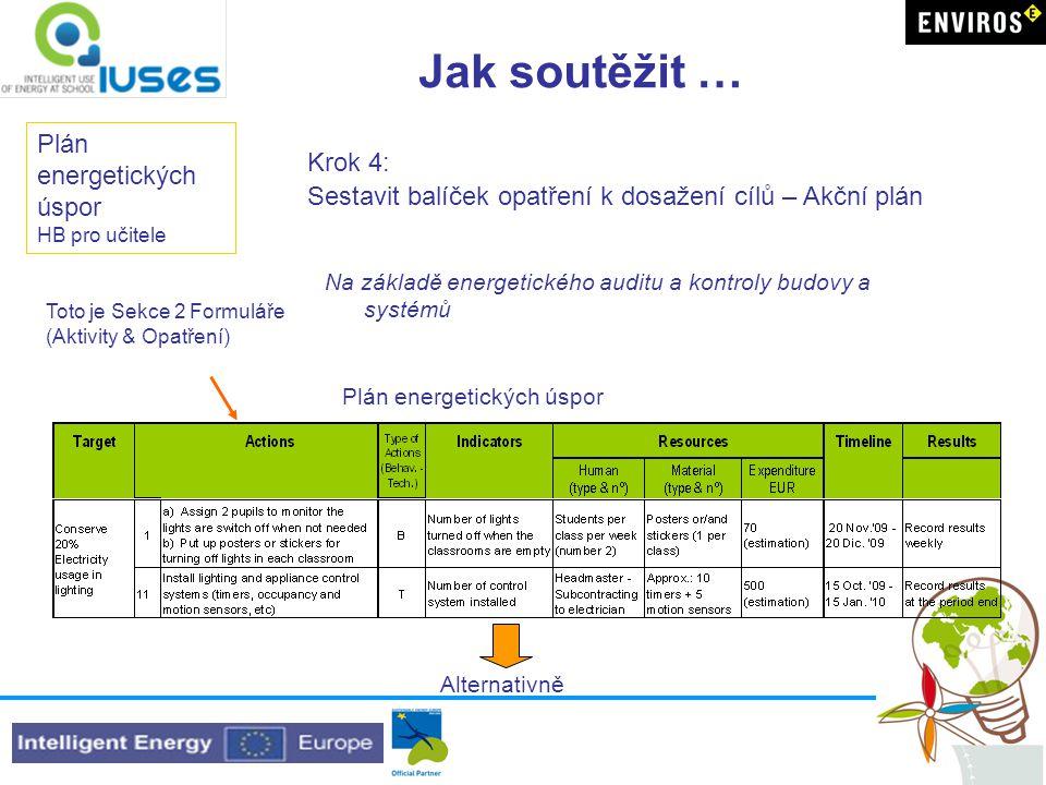 Jak soutěžit … Plán energetických úspor HB pro učitele Krok 4: Sestavit balíček opatření k dosažení cílů – Akční plán Na základě energetického auditu a kontroly budovy a systémů Plán energetických úspor Toto je Sekce 2 Formuláře (Aktivity & Opatření) Alternativně