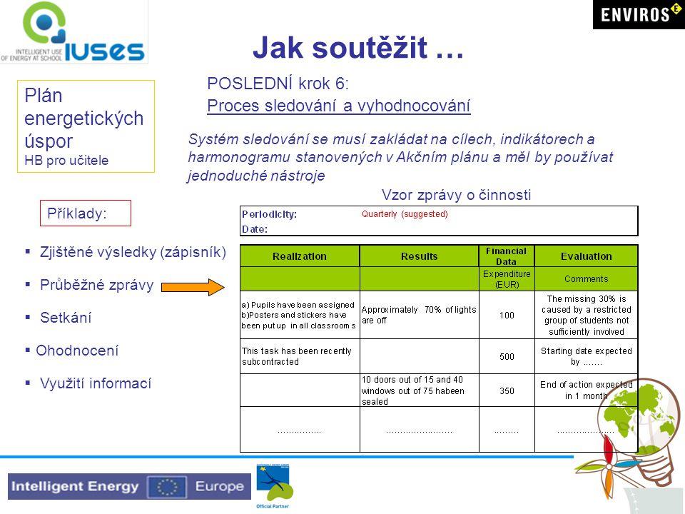 Jak soutěžit … Plán energetických úspor HB pro učitele POSLEDNÍ krok 6: Proces sledování a vyhodnocování Systém sledování se musí zakládat na cílech, indikátorech a harmonogramu stanovených v Akčním plánu a měl by používat jednoduché nástroje Vzor zprávy o činnosti  Zjištěné výsledky (zápisník)  Průběžné zprávy  Setkání  Ohodnocení  Využití informací Příklady: