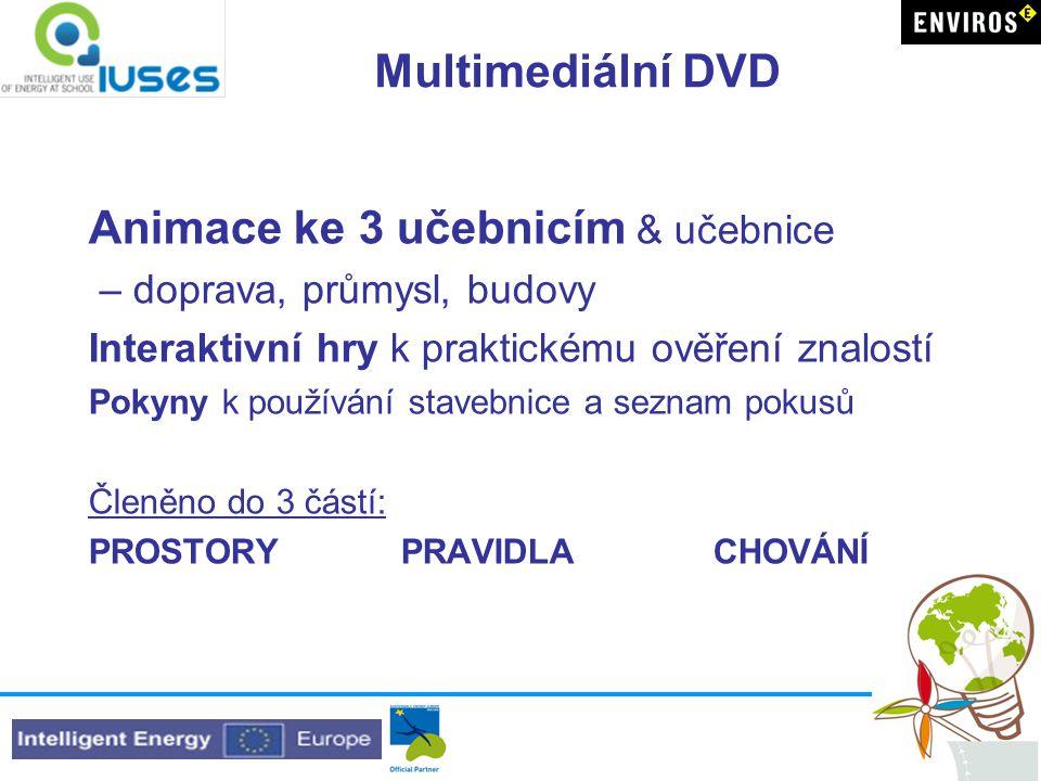 Multimediální DVD Animace ke 3 učebnicím & učebnice – doprava, průmysl, budovy Interaktivní hry k praktickému ověření znalostí Pokyny k používání stav