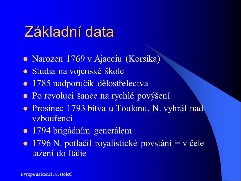 Základní data Základní data  Narozen 1769 v Ajacciu (Korsika)  Studia na vojenské škole  1785 nadporučík dělostřelectva  Po revoluci šance na rych