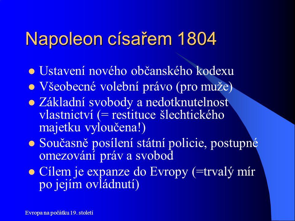 Evropa na počátku 19. století Napoleon císařem 1804  Ustavení nového občanského kodexu  Všeobecné volební právo (pro muže)  Základní svobody a nedo