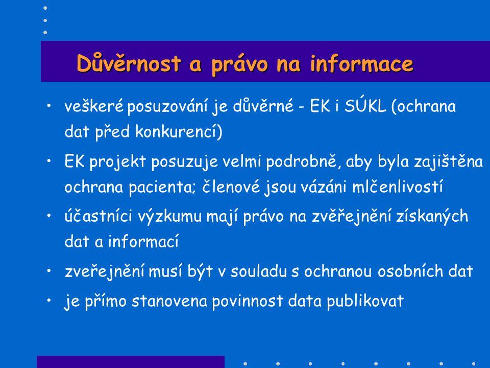 Důvěrnost a právo na informace •veškeré posuzování je důvěrné - EK i SÚKL (ochrana dat před konkurencí) •EK projekt posuzuje velmi podrobně, aby byla
