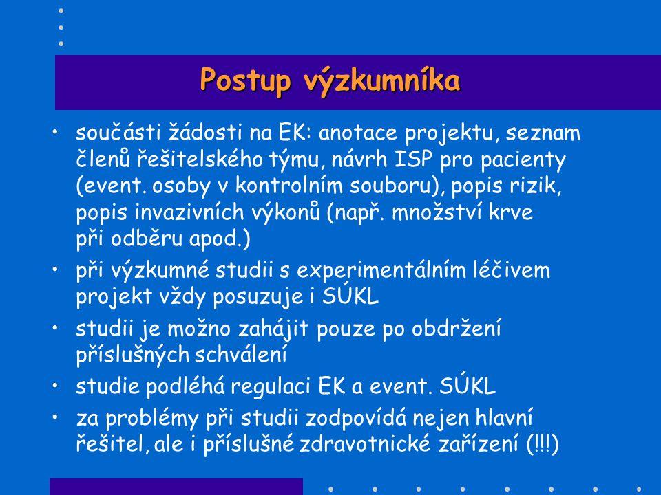 Postup výzkumníka •součásti žádosti na EK: anotace projektu, seznam členů řešitelského týmu, návrh ISP pro pacienty (event. osoby v kontrolním souboru