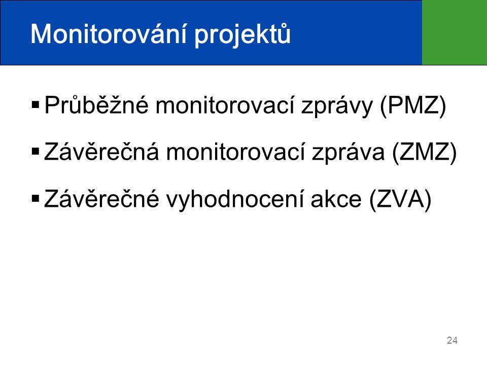 24 Monitorování projektů  Průběžné monitorovací zprávy (PMZ)  Závěrečná monitorovací zpráva (ZMZ)  Závěrečné vyhodnocení akce (ZVA)
