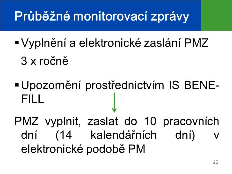 25 Průběžné monitorovací zprávy  Vyplnění a elektronické zaslání PMZ 3 x ročně  Upozornění prostřednictvím IS BENE- FILL PMZ vyplnit, zaslat do 10 p