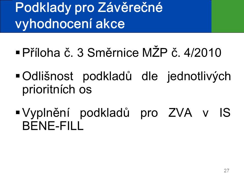 27 Podklady pro Závěrečné vyhodnocení akce  Příloha č. 3 Směrnice MŽP č. 4/2010  Odlišnost podkladů dle jednotlivých prioritních os  Vyplnění podkl