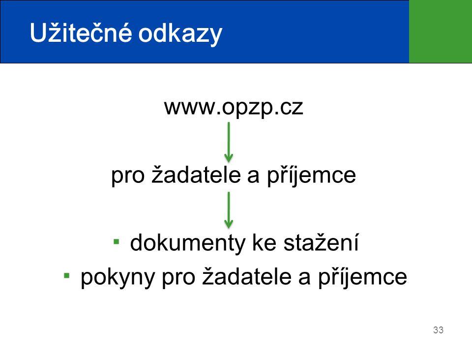 33 Užitečné odkazy www.opzp.cz pro žadatele a příjemce ▪ dokumenty ke stažení ▪ pokyny pro žadatele a příjemce