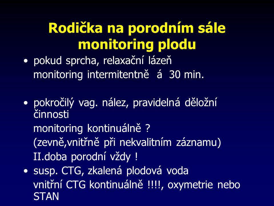 Rodička na porodním sále monitoring plodu •pokud sprcha, relaxační lázeň monitoring intermitentně á 30 min. •pokročilý vag. nález, pravidelná děložní