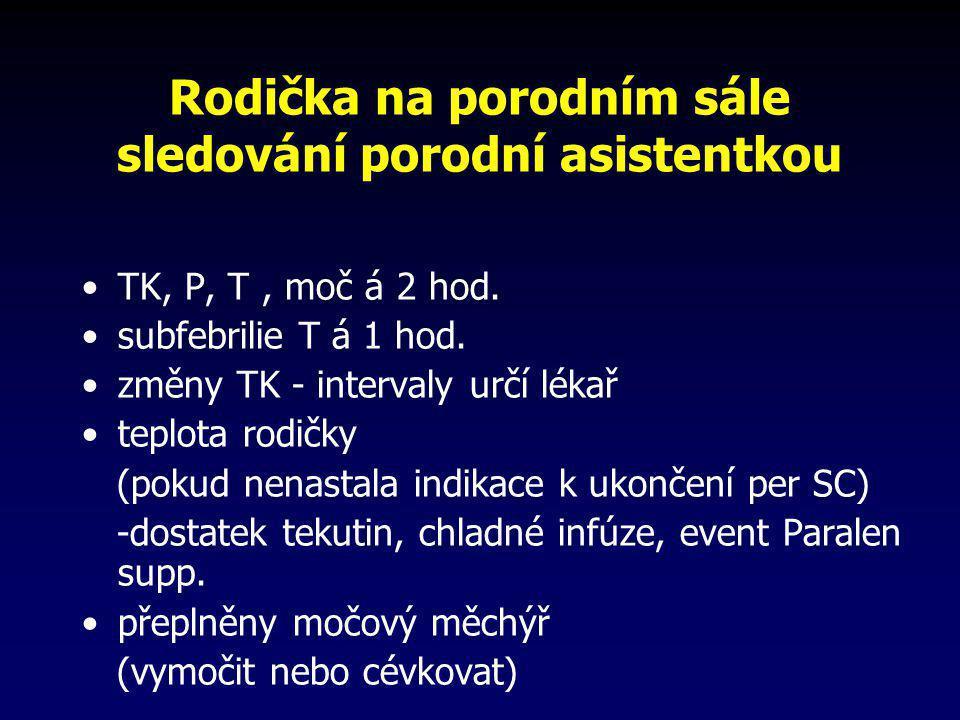 Rodička na porodním sále sledování porodní asistentkou •TK, P, T, moč á 2 hod. •subfebrilie T á 1 hod. •změny TK - intervaly určí lékař •teplota rodič