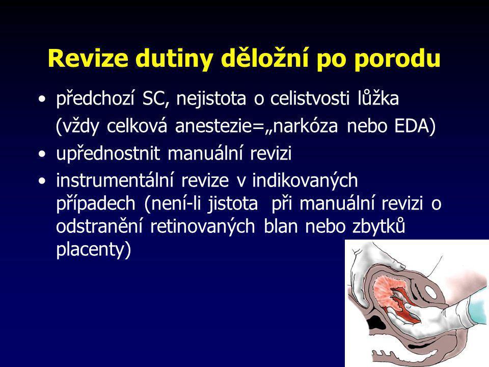 """Revize dutiny děložní po porodu •předchozí SC, nejistota o celistvosti lůžka (vždy celková anestezie=""""narkóza nebo EDA) •upřednostnit manuální revizi"""
