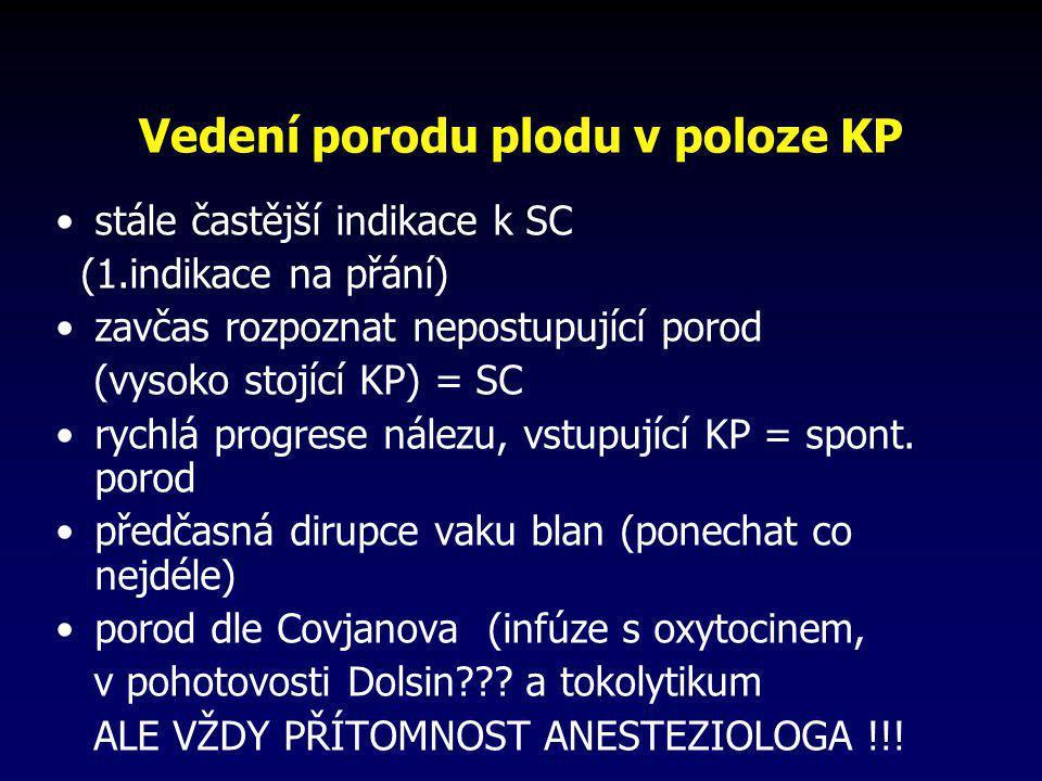 Vedení porodu plodu v poloze KP •stále častější indikace k SC (1.indikace na přání) •zavčas rozpoznat nepostupující porod (vysoko stojící KP) = SC •ry