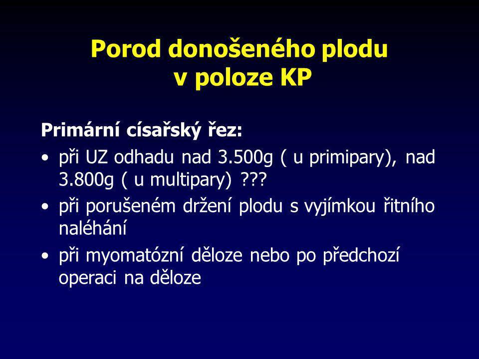 Porod donošeného plodu v poloze KP Primární císařský řez: •při UZ odhadu nad 3.500g ( u primipary), nad 3.800g ( u multipary) ??? •při porušeném držen