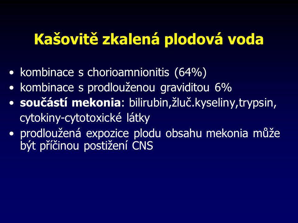 Kašovitě zkalená plodová voda •kombinace s chorioamnionitis (64%) •kombinace s prodlouženou graviditou 6% •součástí mekonia: bilirubin,žluč.kyseliny,t