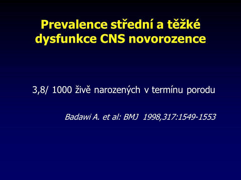 Prevalence střední a těžké dysfunkce CNS novorozence 3,8/ 1000 živě narozených v termínu porodu Badawi A. et al: BMJ 1998,317:1549-1553