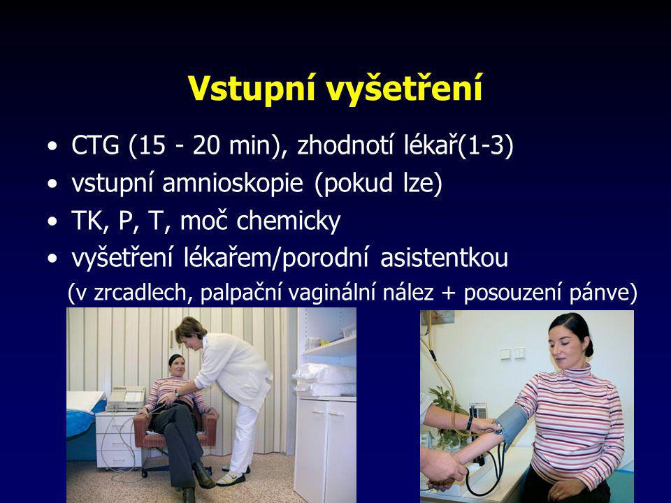 Vstupní vyšetření •CTG (15 - 20 min), zhodnotí lékař(1-3) •vstupní amnioskopie (pokud lze) •TK, P, T, moč chemicky •vyšetření lékařem/porodní asistent