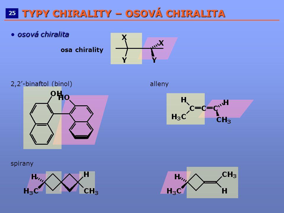 ____________________________________________________ 25 TYPY CHIRALITY – OSOVÁ CHIRALITA osová chiralita ● osová chiralita osa chirality 2,2'-binaftol