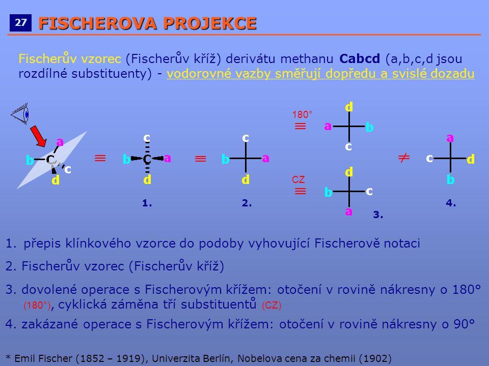 ____________________________________________________ 27 FISCHEROVA PROJEKCE Fischerův vzorec (Fischerův kříž) derivátu methanu Cabcd (a,b,c,d jsou roz