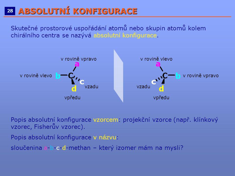 ____________________________________________________ 28 ABSOLUTNÍ KONFIGURACE Skutečné prostorové uspořádání atomů nebo skupin atomů kolem chirálního